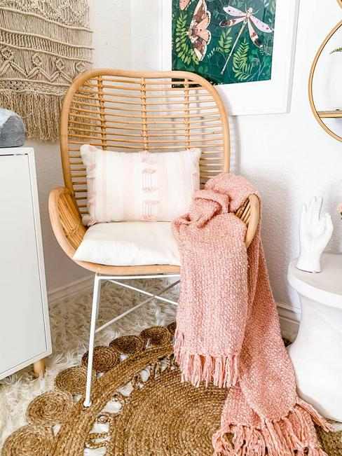 Chair with Throw Pillow and Blanket